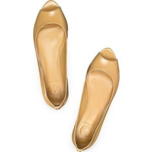 Tory Burch Cornelia Peep Toe Flat Size 7
